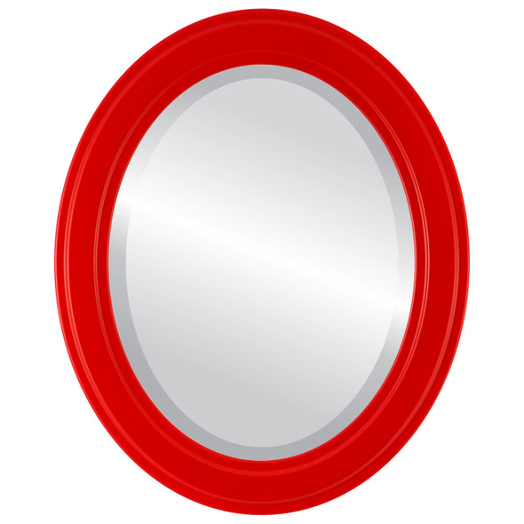 Beveled Mirror - Wright Oval Frame - Holiday Red