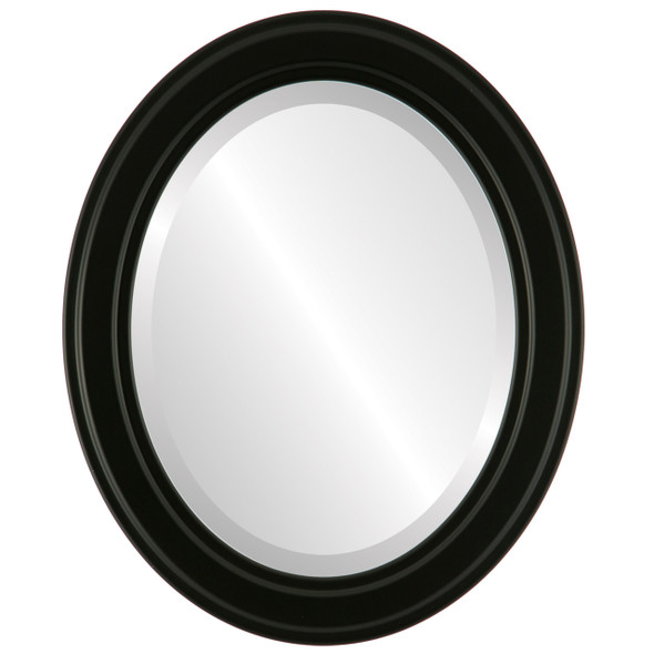 Beveled Mirror - Wright Oval Frame - Matte Black