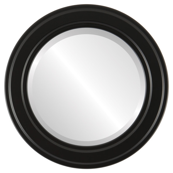 Beveled Mirror - Wright Round Frame - Matte Black