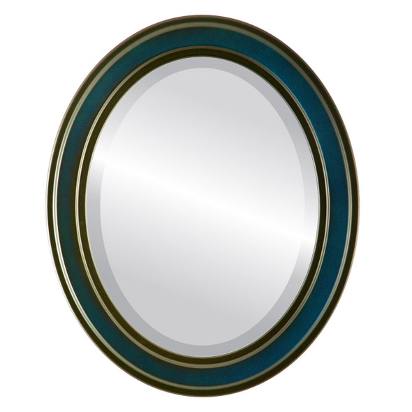 Beveled Mirror - Wright Oval Frame - Royal Blue