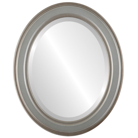 Beveled Mirror - Wright Oval Frame - Silver Shade