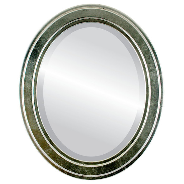 Beveled Mirror - Wright Oval Frame - Silver Leaf with Black Antique