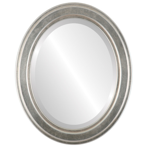 Beveled Mirror - Wright Oval Frame - Silver Leaf with Brown Antique
