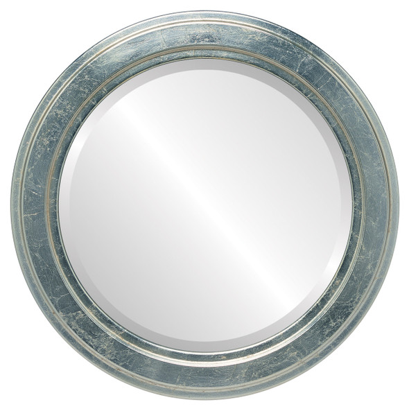 Beveled Mirror - Wright Round Frame - Silver Leaf with Brown Antique