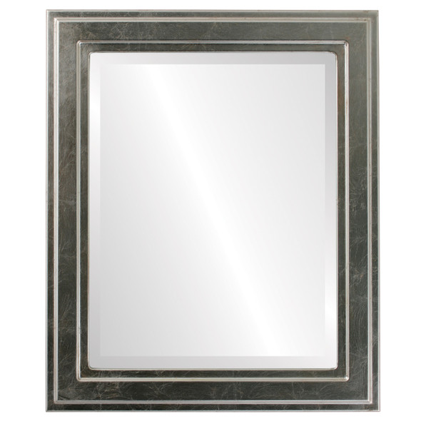 Beveled Mirror - Wright Rectangle Frame - Silver Leaf with Brown Antique