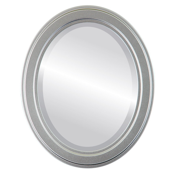 Beveled Mirror - Wright Oval Frame - Silver Spray