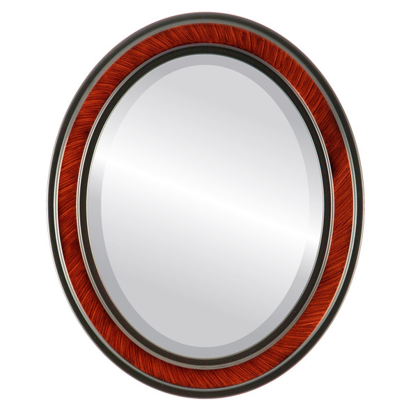 Beveled Mirror - Wright Oval Frame - Vintage Cherry