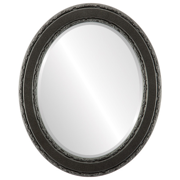 Beveled Mirror - Monticello Oval Frame - Black Silver