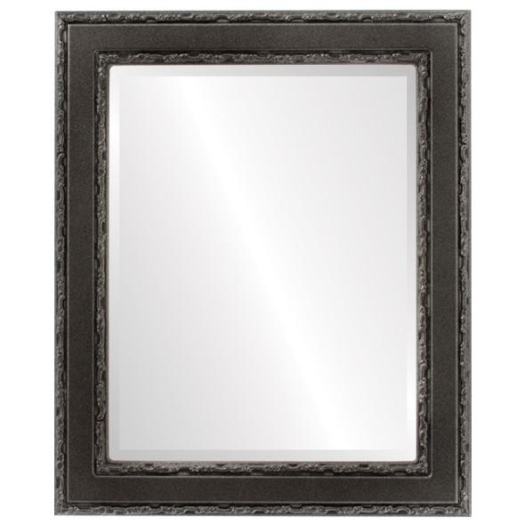 Beveled Mirror - Monticello Rectangle Frame - Black Silver