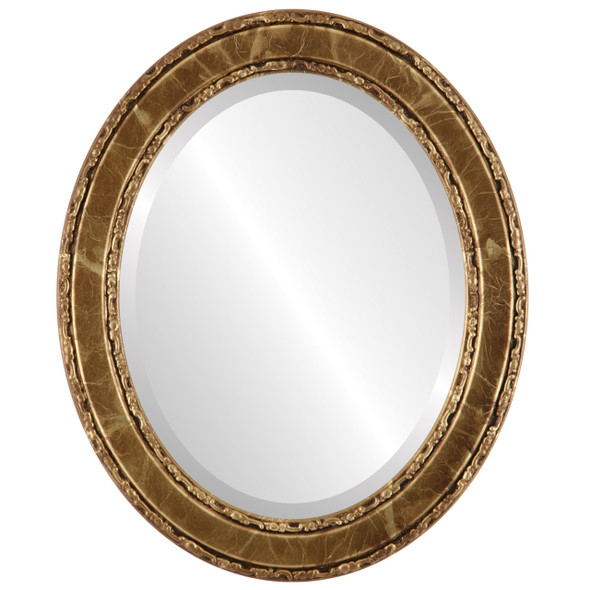 Beveled Mirror - Monticello Oval Frame - Champagne Gold