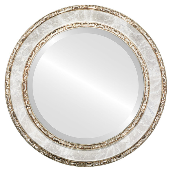 Beveled Mirror - Monticello Round Frame - Champagne Silver