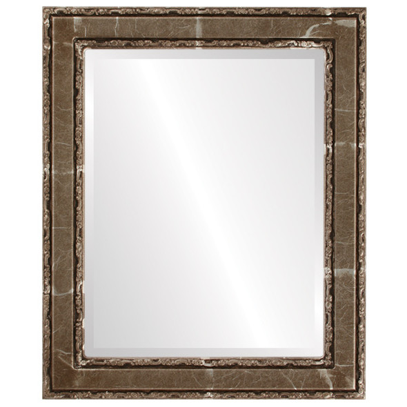 Beveled Mirror - Monticello Rectangle Frame - Champagne Silver