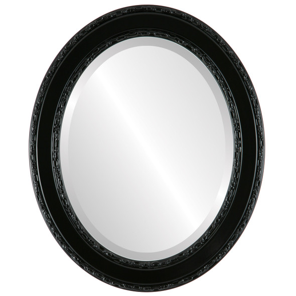 Beveled Mirror - Monticello Oval Frame - Gloss Black