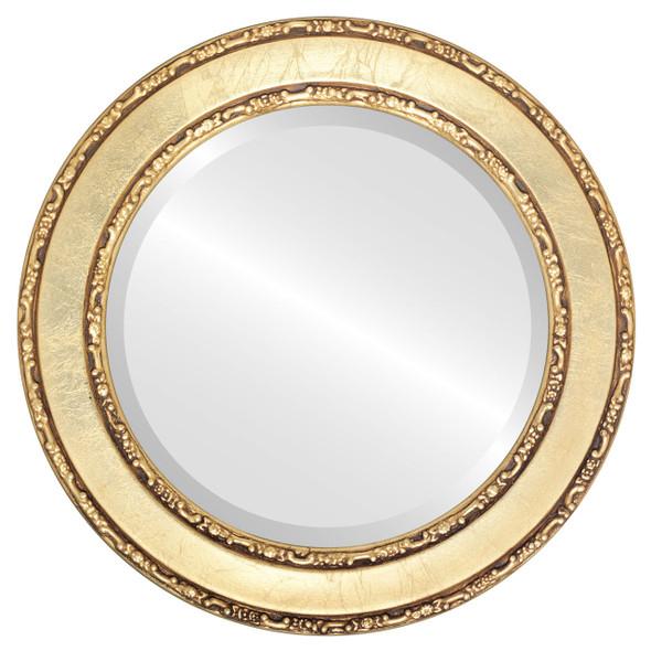 Beveled Mirror - Monticello Round Frame - Gold Leaf