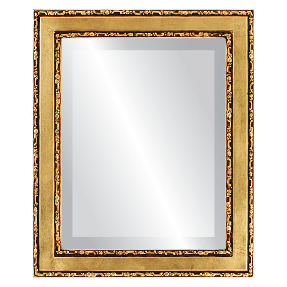 Beveled Mirror - Monticello Rectangle Frame - Gold Leaf