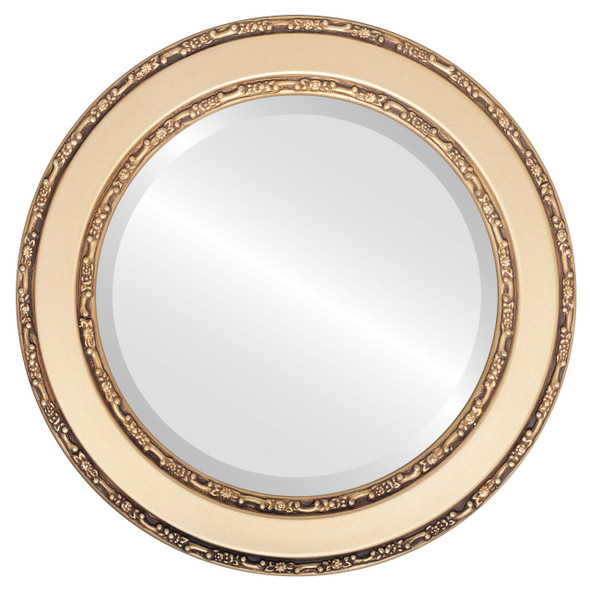 Beveled Mirror - Monticello Round Frame - Gold Spray