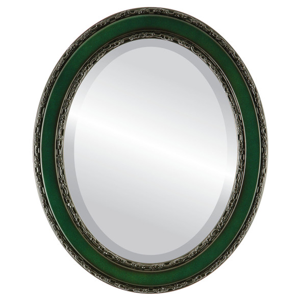 Beveled Mirror - Monticello Oval Frame - Hunter Green