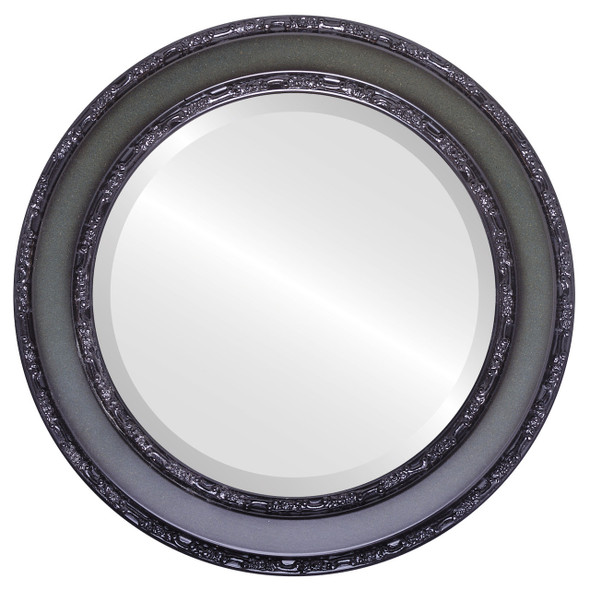 Beveled Mirror - Monticello Round Frame - Hunter Green