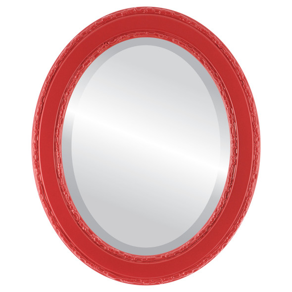 Beveled Mirror - Monticello Oval Frame - Holiday Red