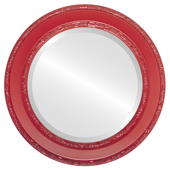 Beveled Mirror - Monticello Round Frame - Holiday Red
