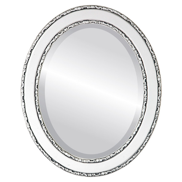 Beveled Mirror - Monticello Oval Frame - Linen White