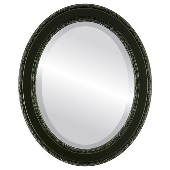 Beveled Mirror - Monticello Oval Frame - Matte Black