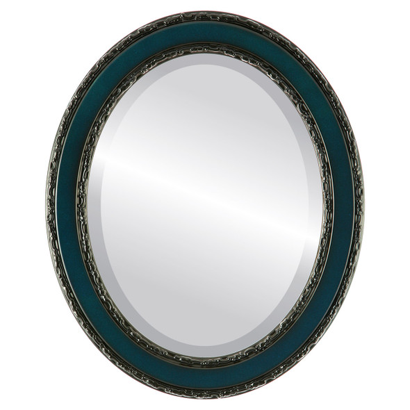 Beveled Mirror - Monticello Oval Frame - Royal Blue