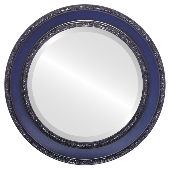 Beveled Mirror - Monticello Round Frame - Royal Blue