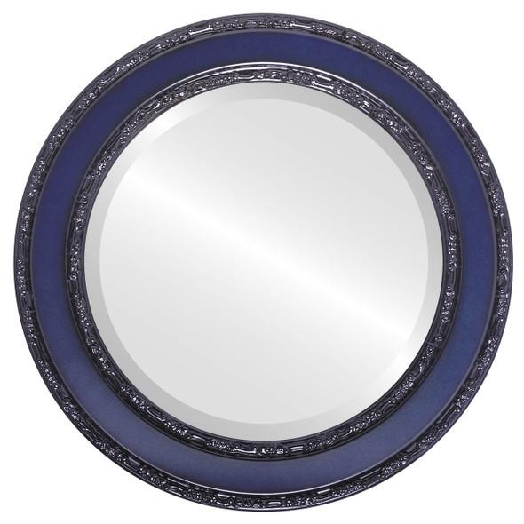 Beveled Mirror - Monticello Round Frame - Royal Blue