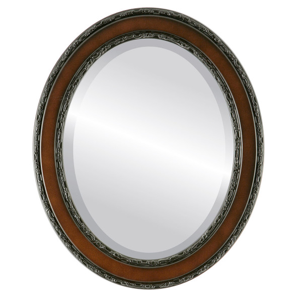 Beveled Mirror - Monticello Oval Frame - Rosewood