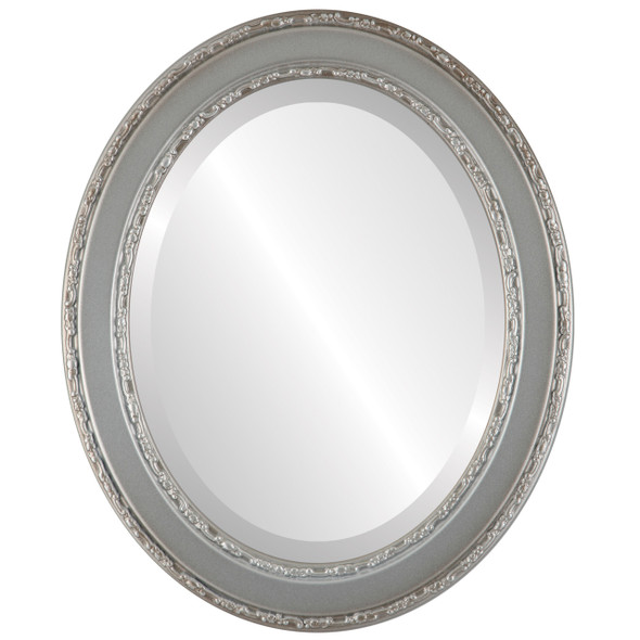 Beveled Mirror - Monticello Oval Frame - Silver Shade