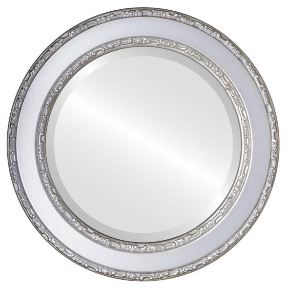 Beveled Mirror - Monticello Round Frame - Silver Shade