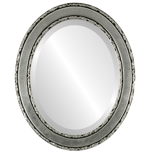 Beveled Mirror - Monticello Oval Frame - Silver Leaf with Black Antique