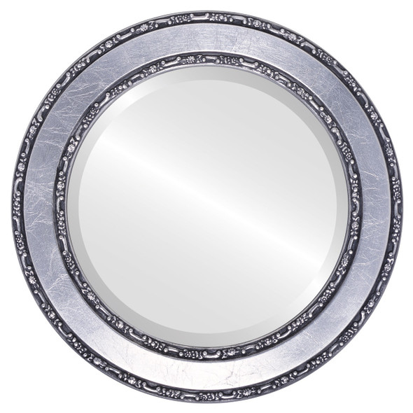 Beveled Mirror - Monticello Round Frame - Silver Leaf with Black Antique