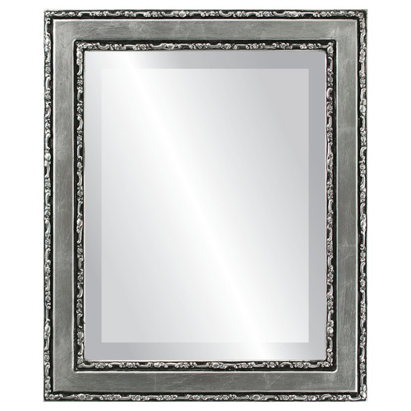 Beveled Mirror - Monticello Rectangle Frame - Silver Leaf with Black Antique