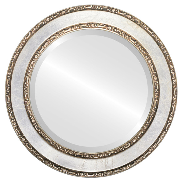 Beveled Mirror - Monticello Round Frame - Silver Leaf with Brown Antique