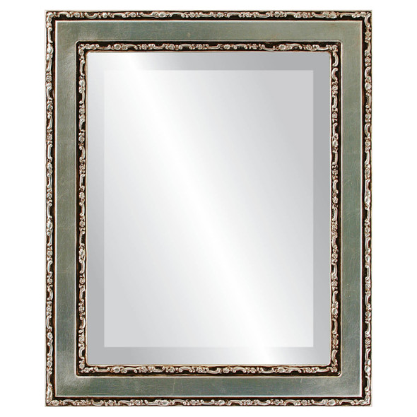 Beveled Mirror - Monticello Rectangle Frame - Silver Leaf with Brown Antique