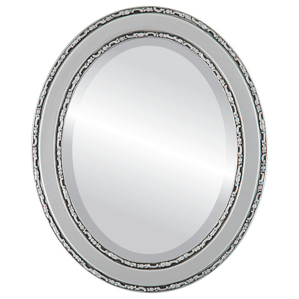 Beveled Mirror - Monticello Oval Frame - Silver Spray