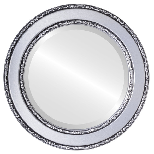 Beveled Mirror - Monticello Round Frame - Silver Spray