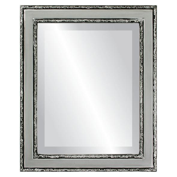 Beveled Mirror - Monticello Rectangle Frame - Silver Spray