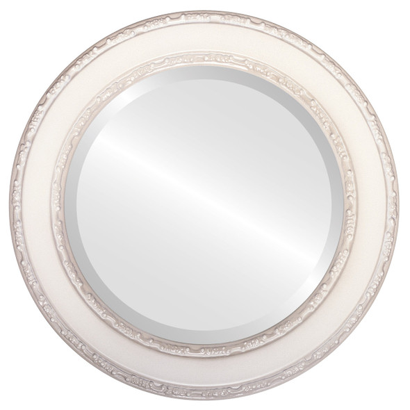 Beveled Mirror - Monticello Round Frame - Taupe