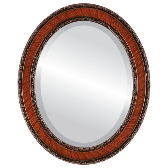 Beveled Mirror - Monticello Oval Frame - Vintage Cherry