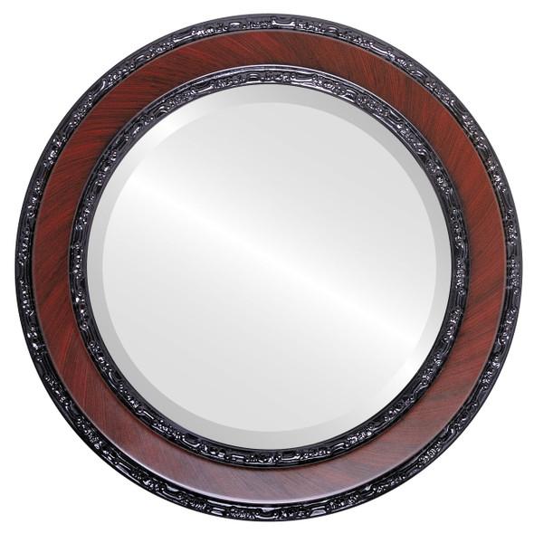 Beveled Mirror - Monticello Round Frame - Vintage Cherry