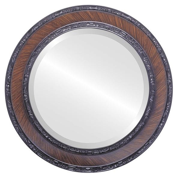 Beveled Mirror - Monticello Round Frame - Vintage Walnut