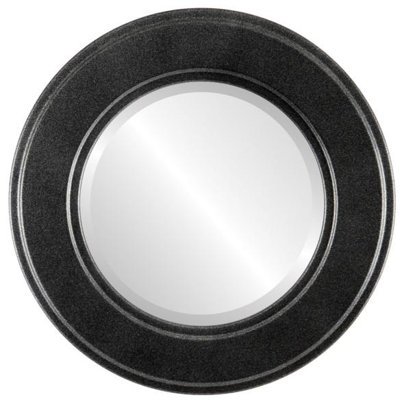 Beveled Mirror - Montreal Round Frame - Black Silver
