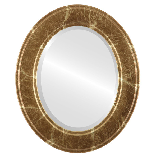 Beveled Mirror - Montreal Oval Frame - Champagne Gold
