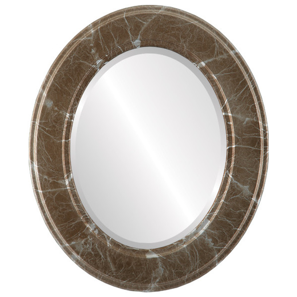 Beveled Mirror - Montreal Oval Frame - Champagne Silver