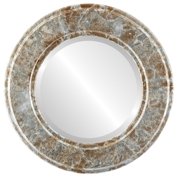 Beveled Mirror - Montreal Round Frame - Champagne Silver