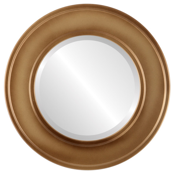 Beveled Mirror - Montreal Round Frame - Desert Gold