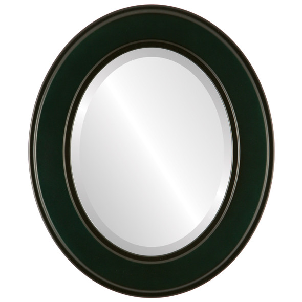Beveled Mirror - Montreal Oval Frame - Hunter Green